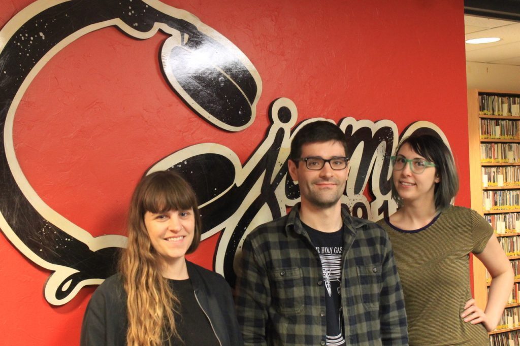 CJAM Staff - From left to right - Music Director Gin Ebony, Station Manager Brady Holek, Program Director Carley Schweitzer